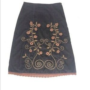 Anthropologie Lux Corduroy Embroidered Skirt
